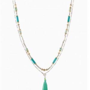 Stella & Dot Costa necklace Amazonite, tassel